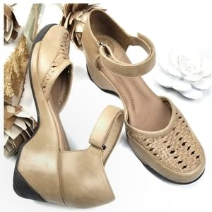❣ Nurture ❣  Tan Woven Ankle Strap Mary Jane 6m